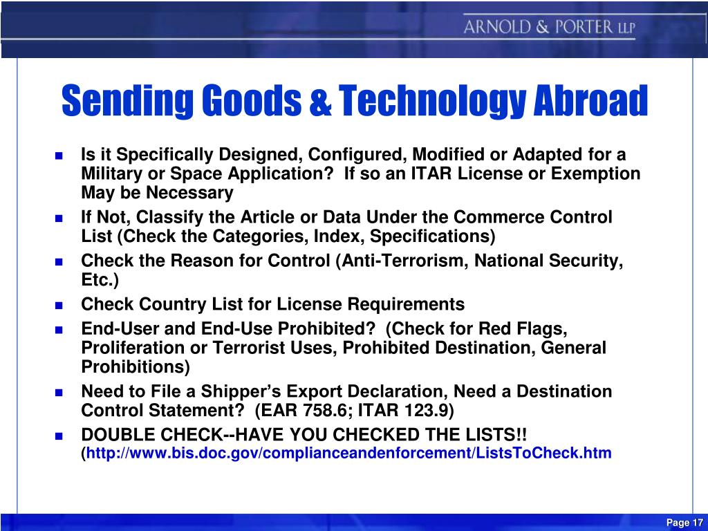 Sending Goods & Technology Abroad