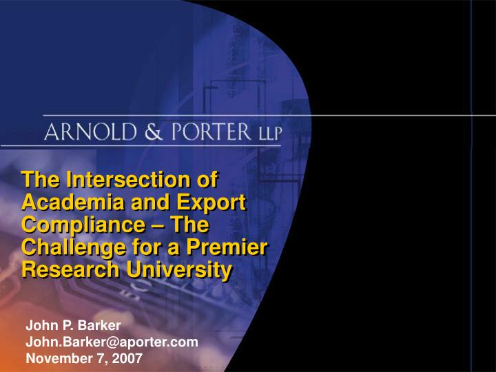 The Intersection of Academia and Export Compliance – The
