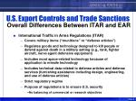 u s export controls and trade sanctions overall differences between itar and ear