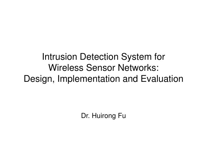 intrusion detection systems in wireless sensor