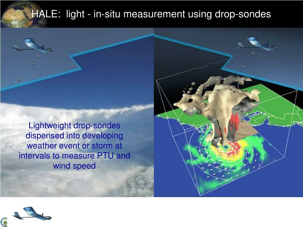 HALE:  light - in-situ measurement using drop-sondes