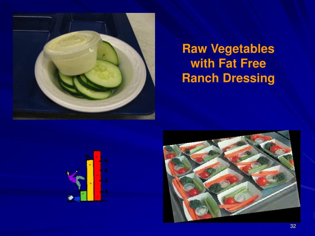 Raw Vegetables with Fat Free Ranch Dressing