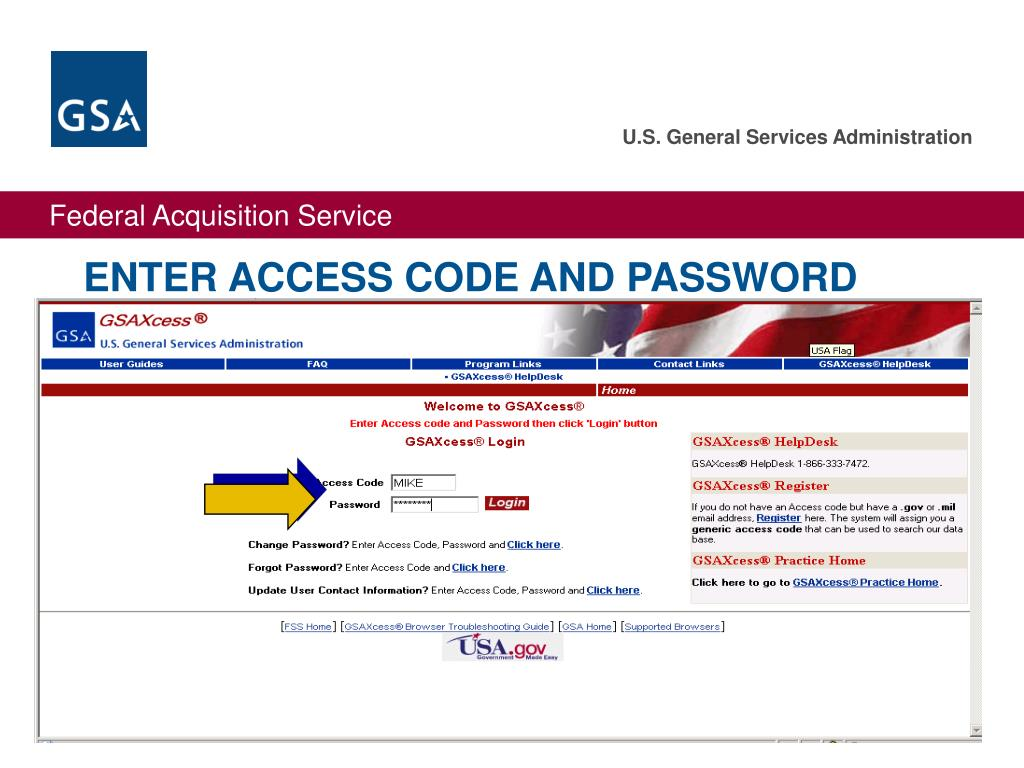ENTER ACCESS CODE AND PASSWORD