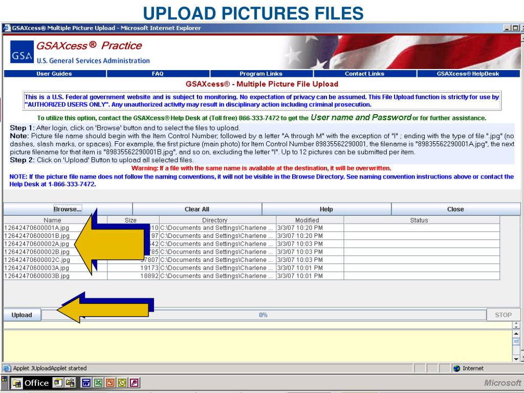 UPLOAD PICTURES FILES
