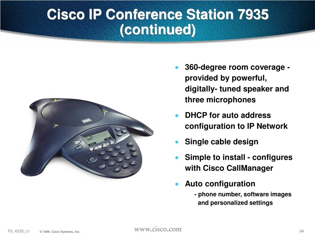 Cisco IP Conference Station 7935 (continued)