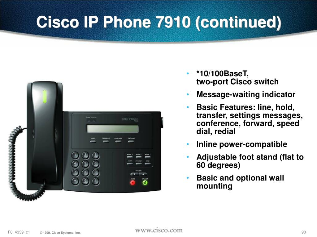 Cisco IP Phone 7910 (continued)