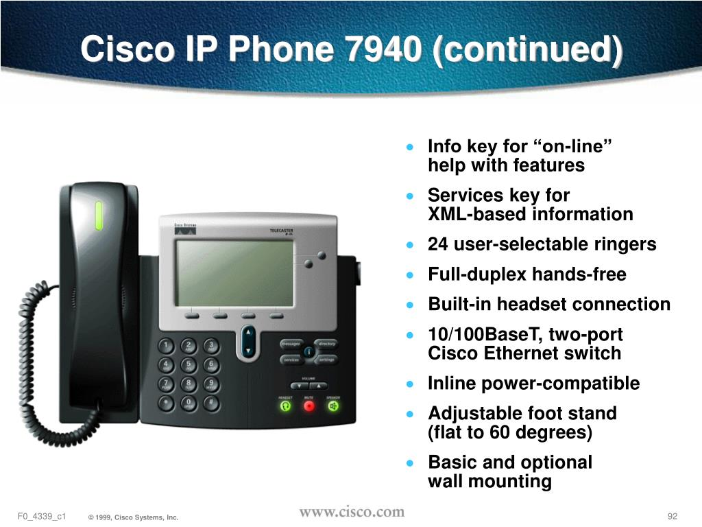 Cisco IP Phone 7940 (continued)