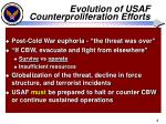 evolution of usaf counterproliferation efforts