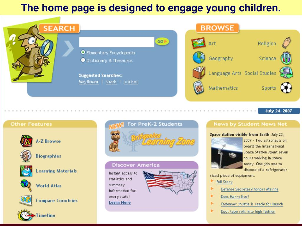 The home page is designed to engage young children.