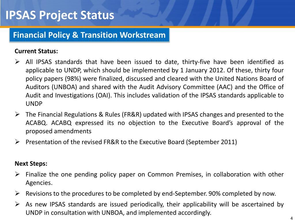 IPSAS Project Status