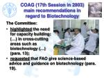 coag 17th session in 2003 main recommendations in regard to biotechnology