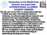 declaration of the world food summit five years later international alliance against hunger