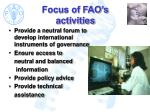 focus of fao s activities