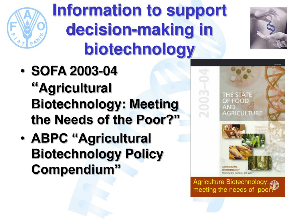 Agriculture Biotechnology: meeting the needs of  poor?