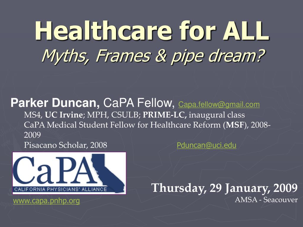 healthcare for all myths frames pipe dream l.