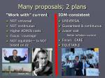 many proposals 2 plans