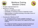 workforce training selection criteria