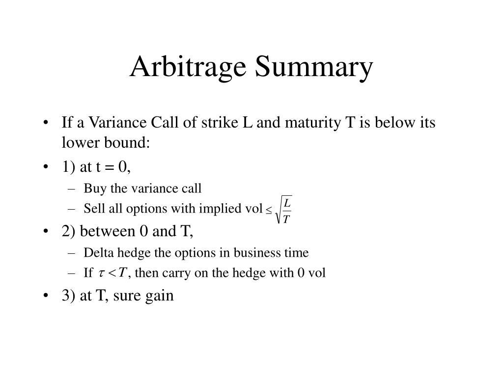 Arbitrage Summary