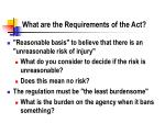what are the requirements of the act