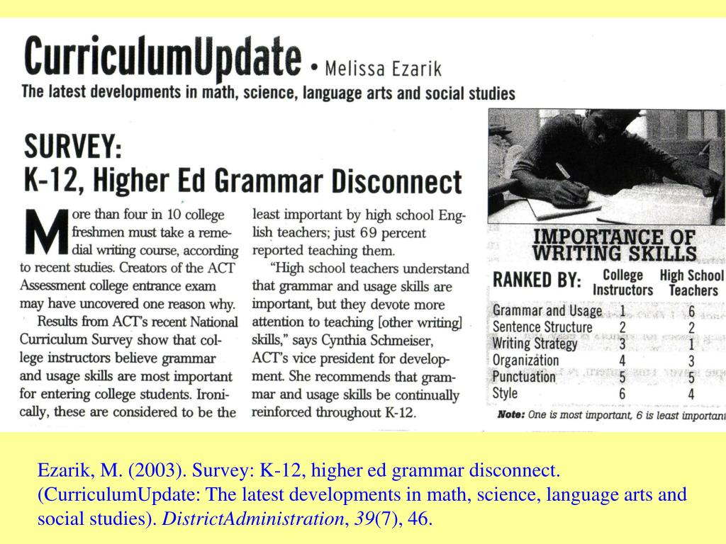 Ezarik, M. (2003). Survey: K-12, higher ed grammar disconnect. (CurriculumUpdate: The latest developments in math, science, language arts and social studies).