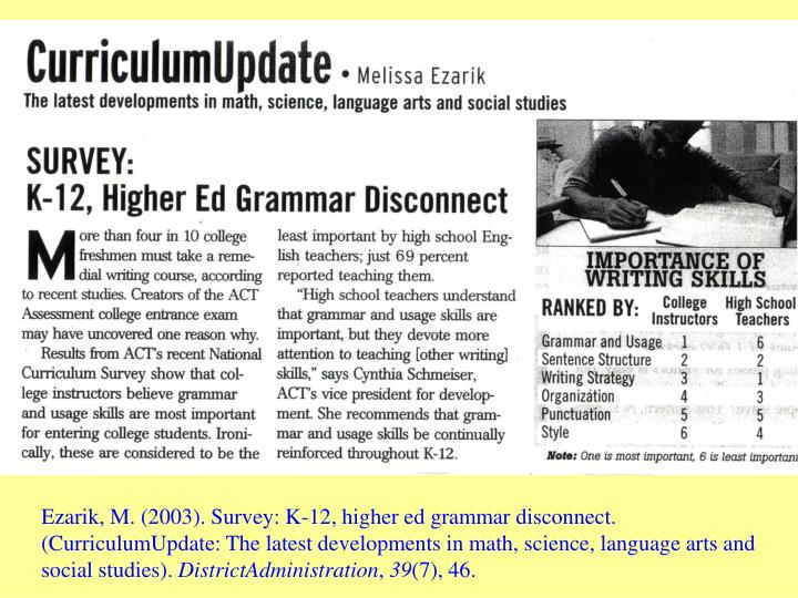 Ezarik, M. (2003). Survey: K-12, higher ed grammar disconnect. (CurriculumUpdate: The latest develop...