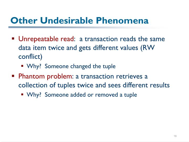 Other Undesirable Phenomena
