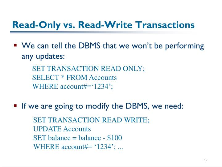 Read-Only vs. Read-Write Transactions