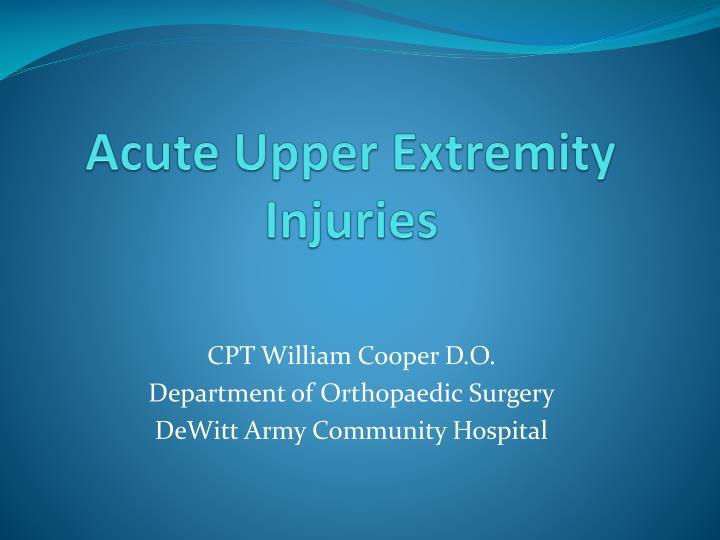 acute upper extremity injuries n.