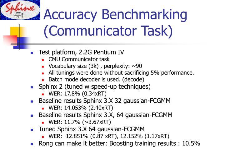 Accuracy Benchmarking (Communicator Task)