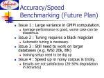 accuracy speed benchmarking future plan