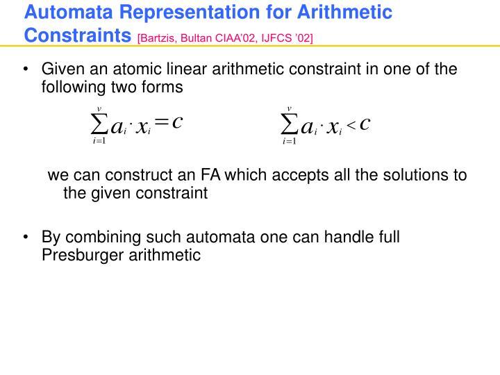 Automata Representation for Arithmetic Constraints
