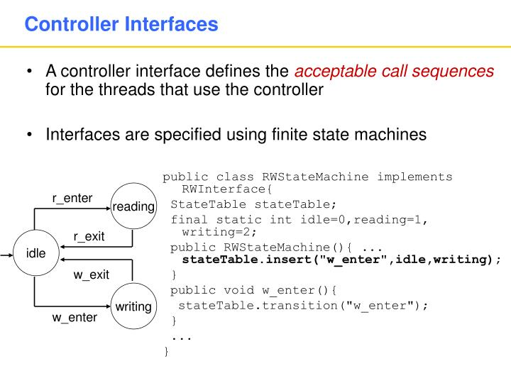 A controller interface defines the