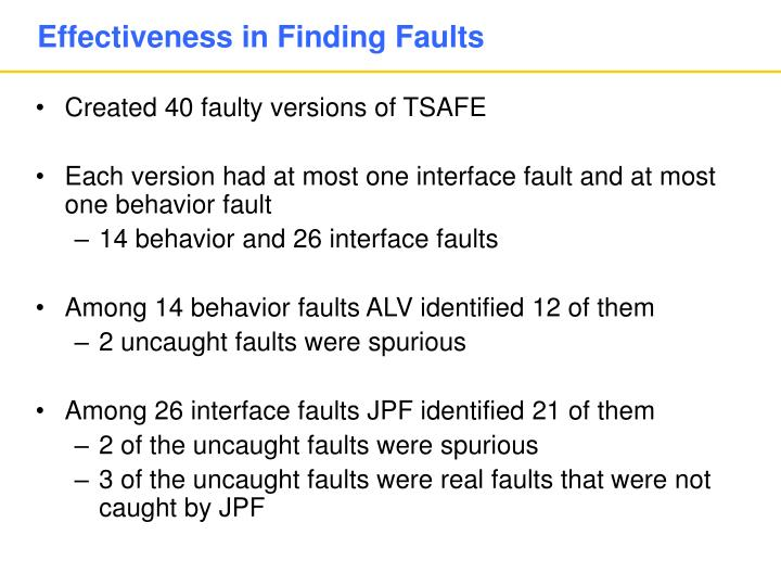 Effectiveness in Finding Faults