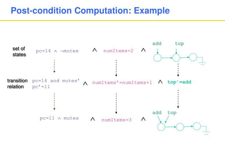 Post-condition Computation: Example