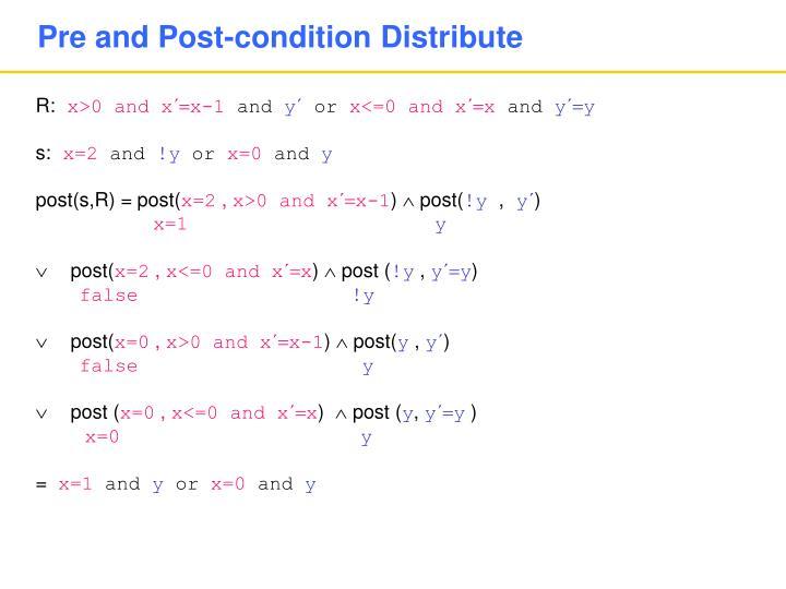Pre and Post-condition Distribute