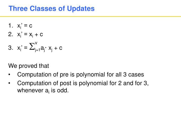 Three Classes of Updates