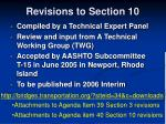 revisions to section 10