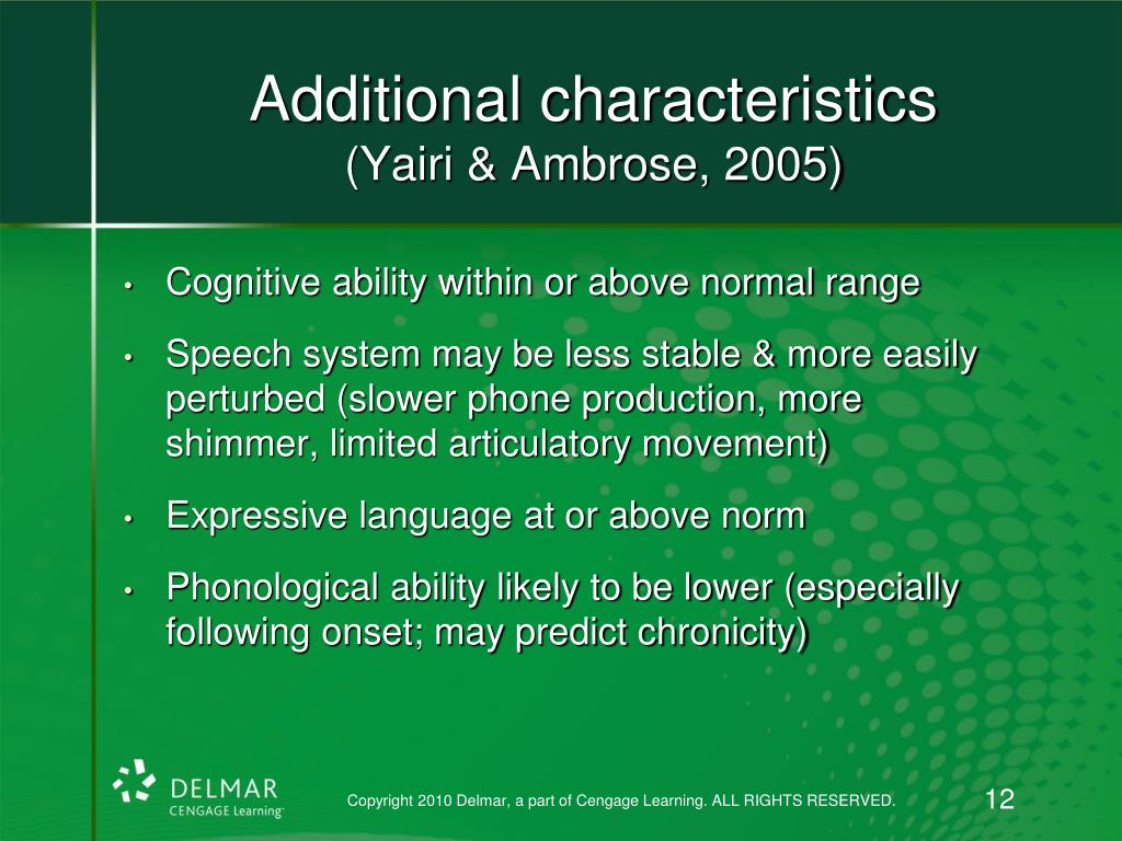 Additional characteristics