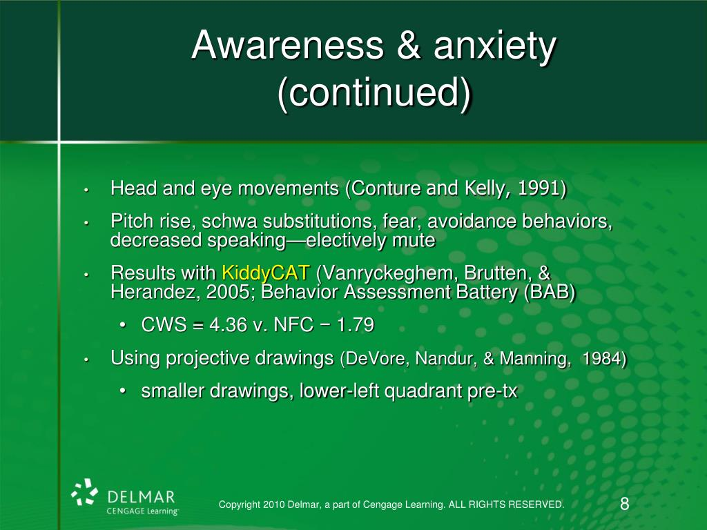 Awareness & anxiety (continued)