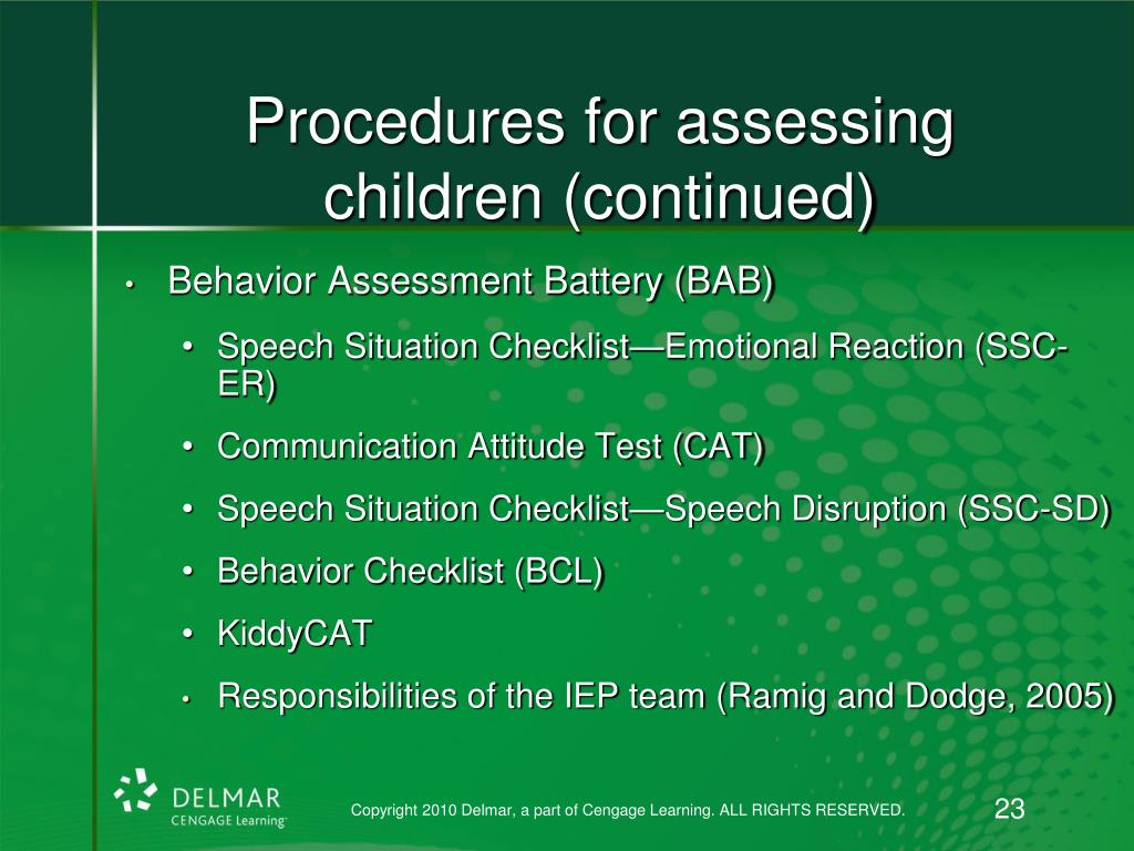 Procedures for assessing children (continued)