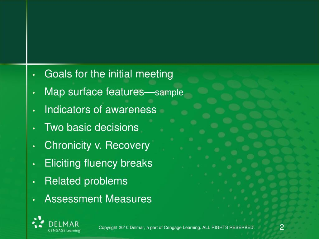 Goals for the initial meeting