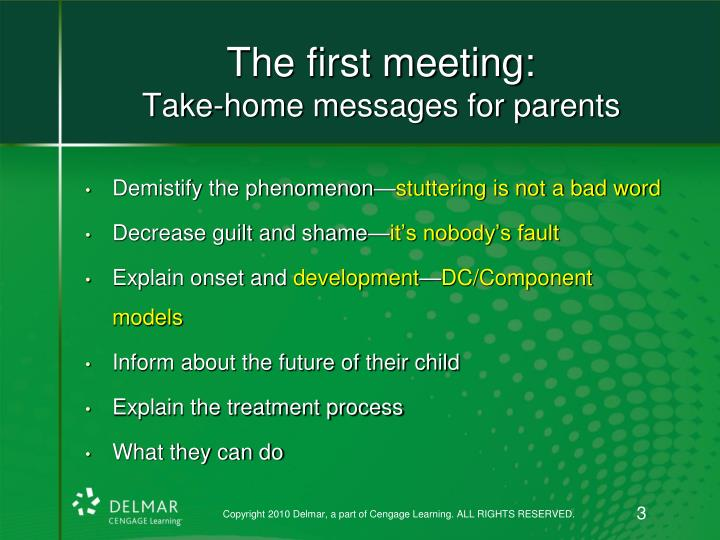 The first meeting take home messages for parents