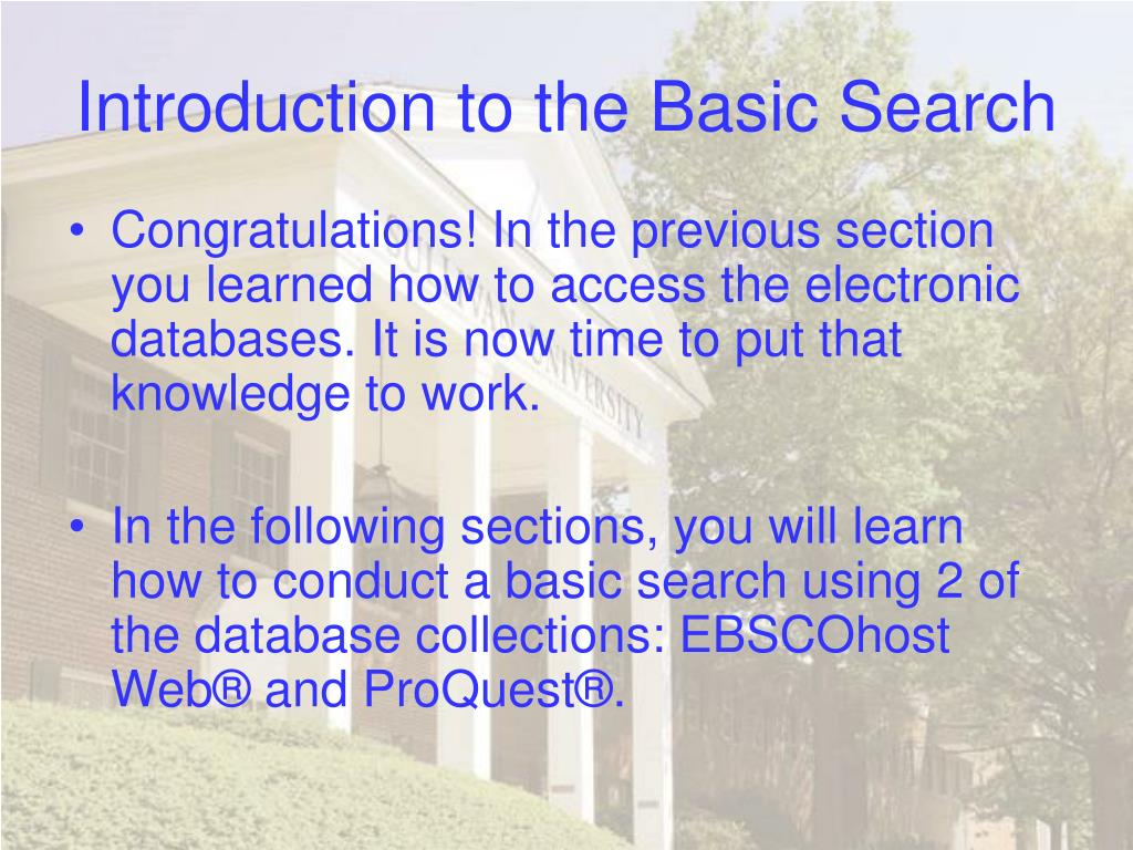 Introduction to the Basic Search
