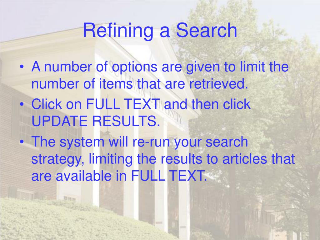 Refining a Search