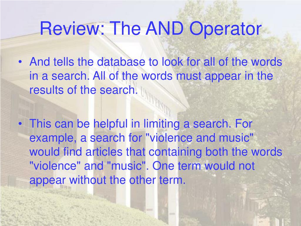 Review: The AND Operator
