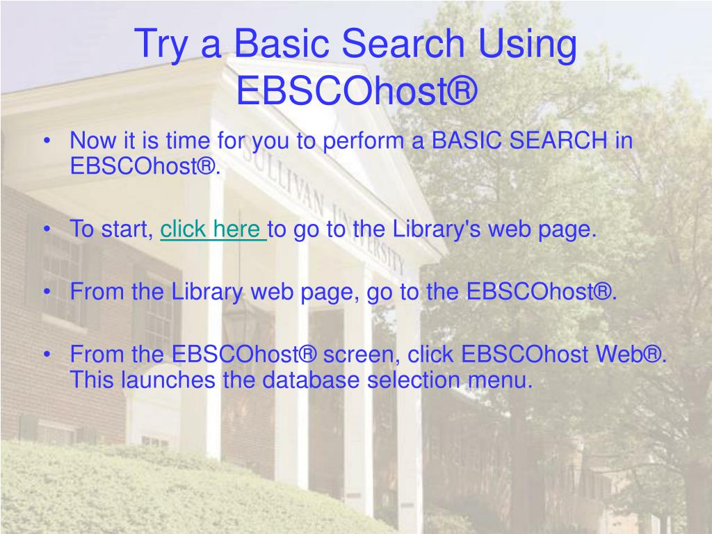 Try a Basic Search Using EBSCOhost®