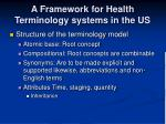a framework for health terminology systems in the us18