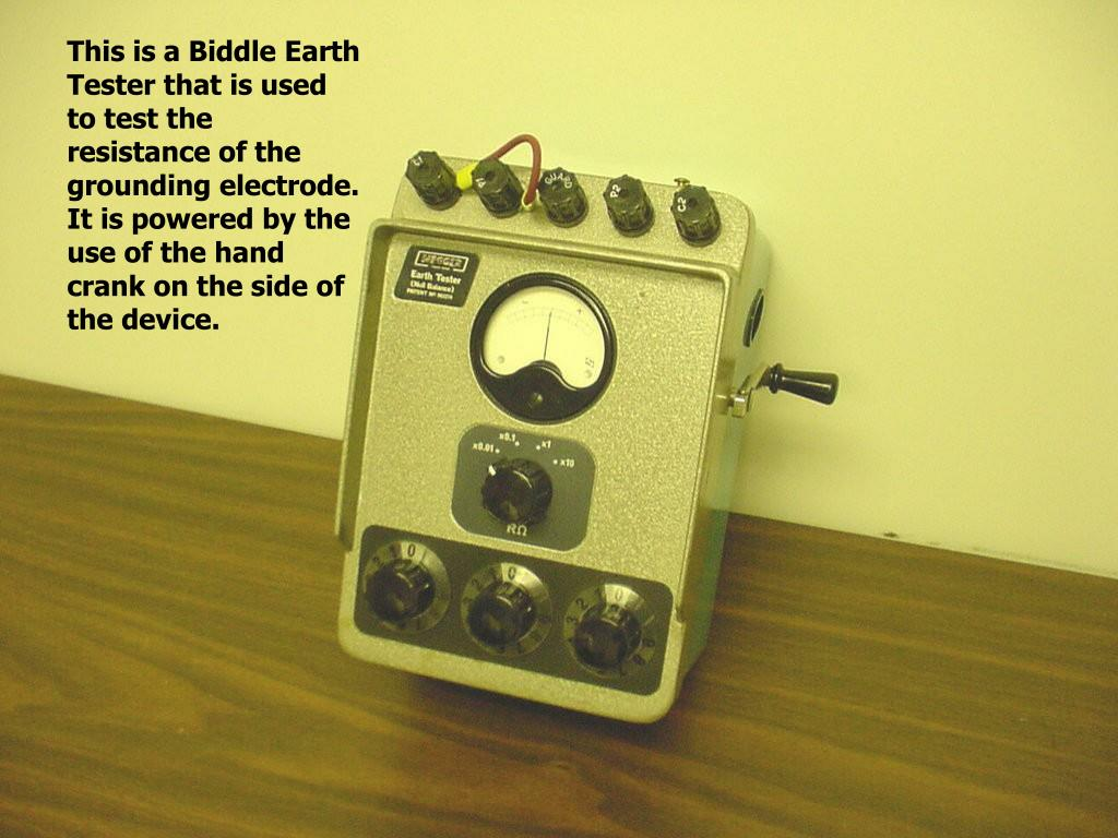 This is a Biddle Earth Tester that is used to test the resistance of the grounding electrode. It is powered by the use of the hand crank on the side of the device.