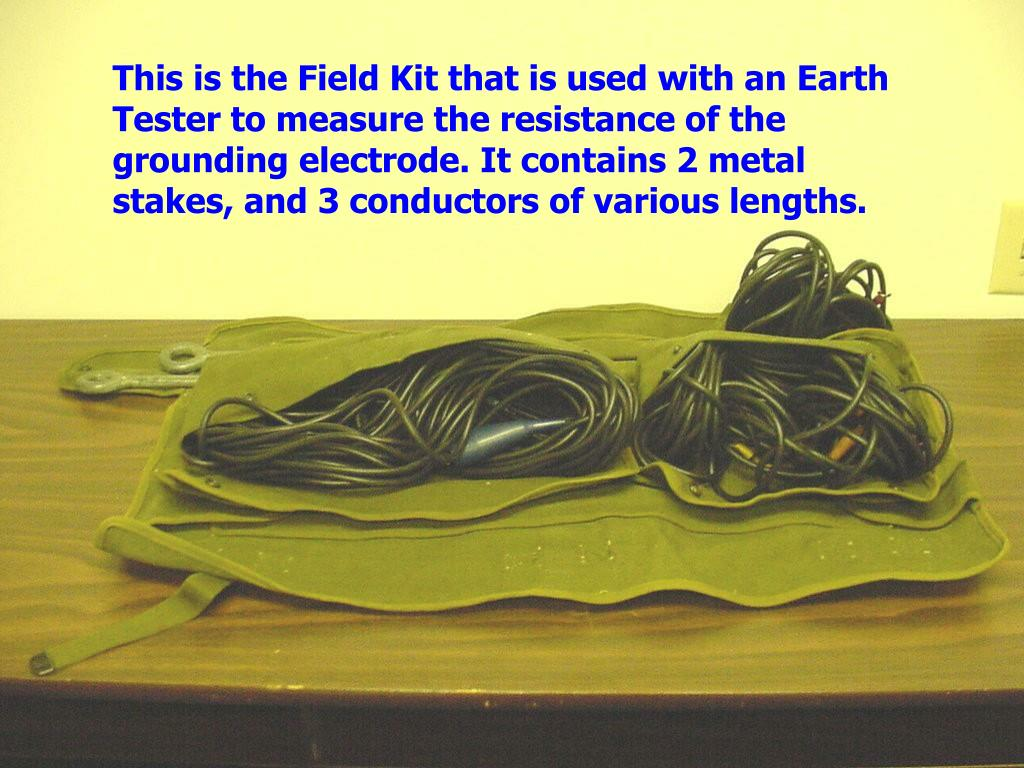 This is the Field Kit that is used with an Earth Tester to measure the resistance of the grounding electrode. It contains 2 metal stakes, and 3 conductors of various lengths.