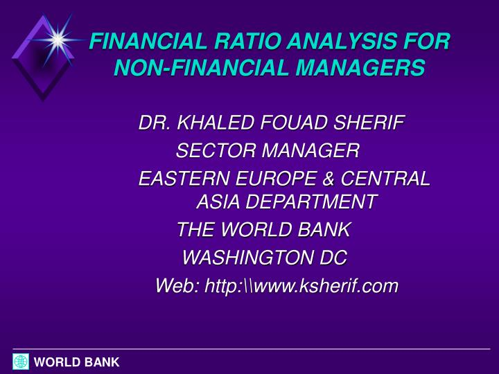 financial ratio analysis for non financial managers n.